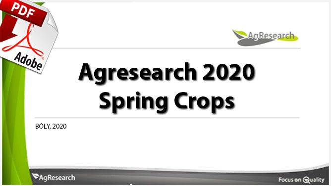 Agresearch 2019 Spring crops - Download our brochure