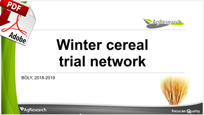 Agresearch Winter cereal trial network 2019 - Download our brochure